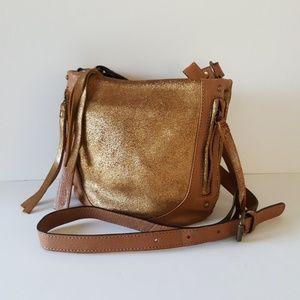 TANO Crackled Shimmer Leather Crossbody Bag